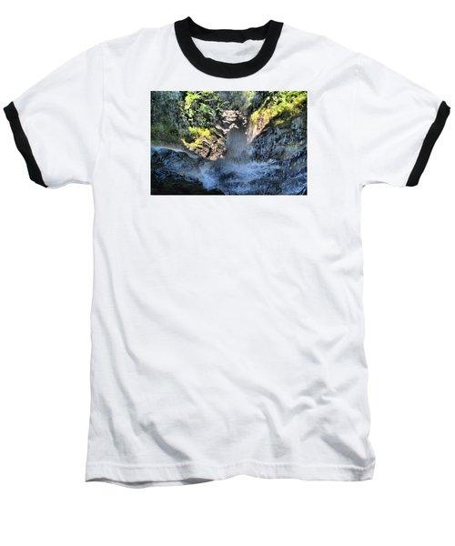 Behind The Falls Baseball T-Shirt by James Potts