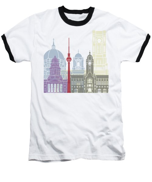 Berlin Skyline Poster Baseball T-Shirt by Pablo Romero