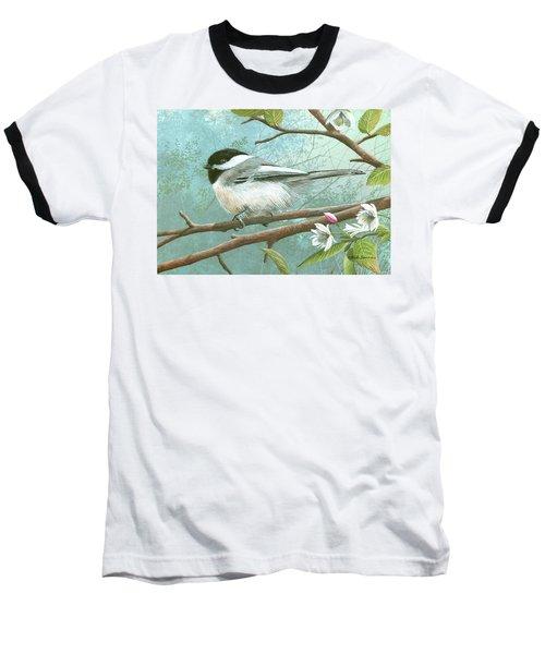 Black Cap Chickadee Baseball T-Shirt by Mike Brown