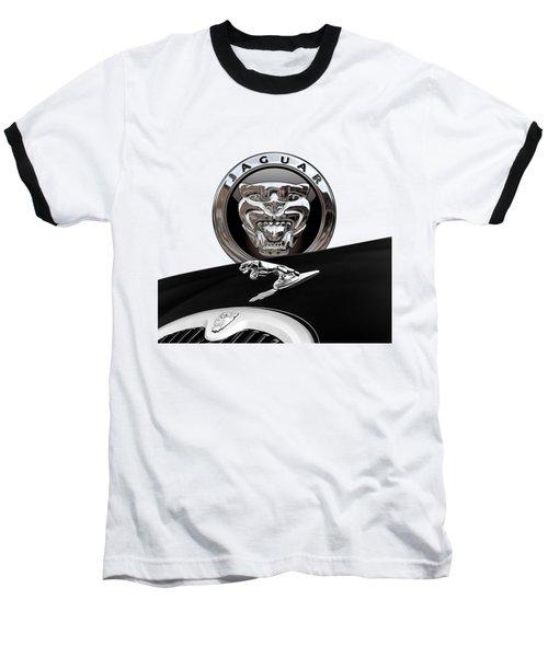 Black Jaguar - Hood Ornaments And 3 D Badge On Red Baseball T-Shirt