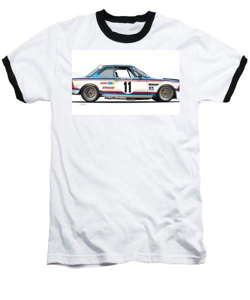 Bmw 3.0 Csl Chris Amon, Hans Stuck Baseball T-Shirt by Alain Jamar