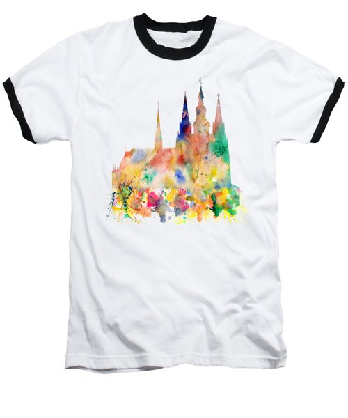Cathedral Of Saint Vitus In The Prague Castle Watercolor Art Baseball T-Shirt