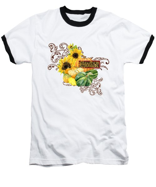 Baseball T-Shirt featuring the painting Celebrate Abundance - Harvest Fall Pumpkins Squash N Sunflowers by Audrey Jeanne Roberts