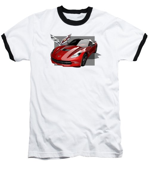 Chevrolet Corvette  C 7  Stingray With 3 D Badge  Baseball T-Shirt