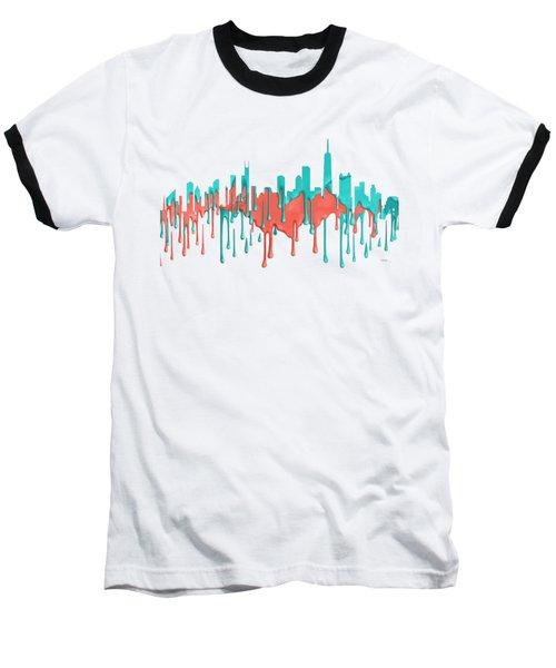 Chicago Illinios Skyline Baseball T-Shirt