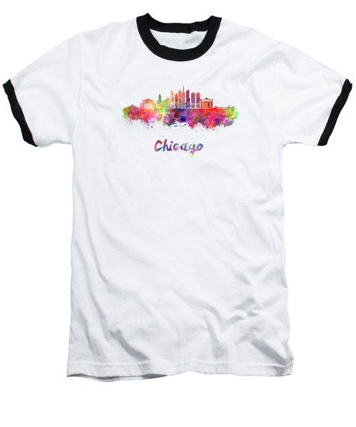 Chicago Skyline In Watercolor Baseball T-Shirt