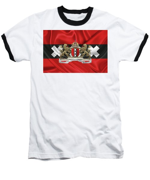 Coat Of Arms Of Amsterdam Over Flag Of Amsterdam Baseball T-Shirt