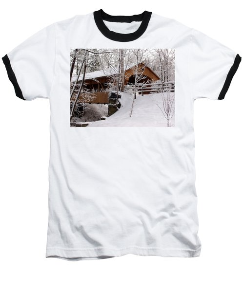 Covered Bridge At Olmsted Falls - 2 Baseball T-Shirt