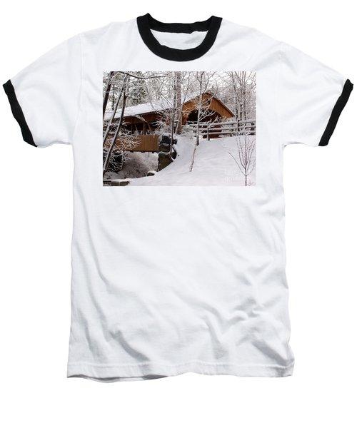 Covered Bridge At Olmsted Falls - 2 Baseball T-Shirt