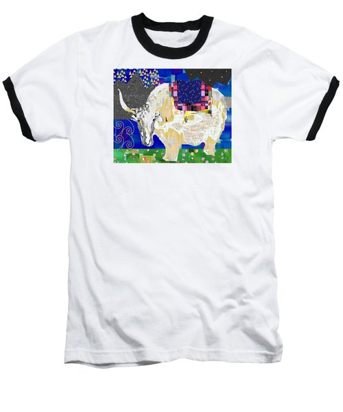Stay Curious Cow Collage  Baseball T-Shirt