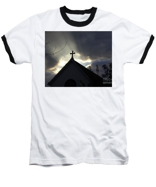 Cross In Sun Rays Baseball T-Shirt by Debra Crank