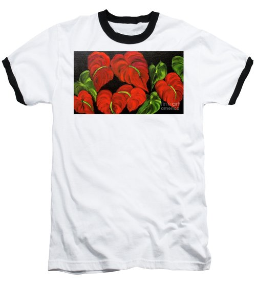 Dancing Anthuriums Baseball T-Shirt by Jenny Lee