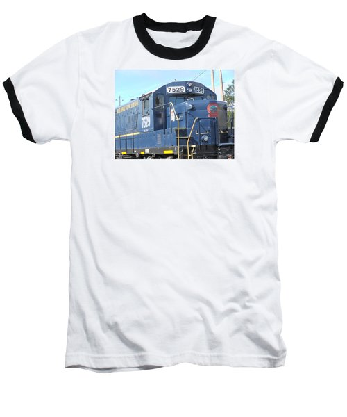 Diesel Engline Train Baseball T-Shirt by Linda Geiger