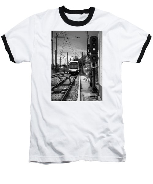 Electric Commuter Train In Bw Baseball T-Shirt