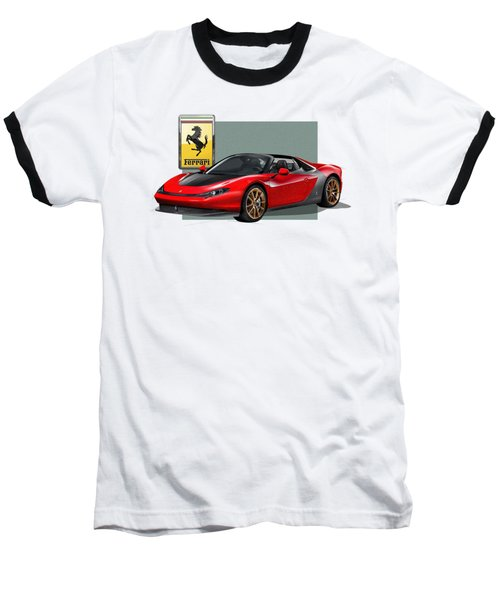 Ferrari Sergio With 3d Badge  Baseball T-Shirt by Serge Averbukh