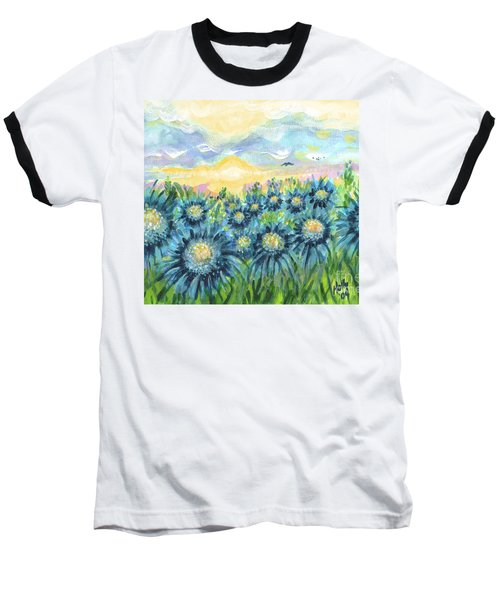Field Of Blue Flowers Baseball T-Shirt by Holly Carmichael