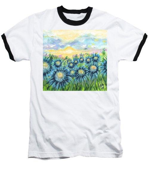 Field Of Blue Flowers Baseball T-Shirt