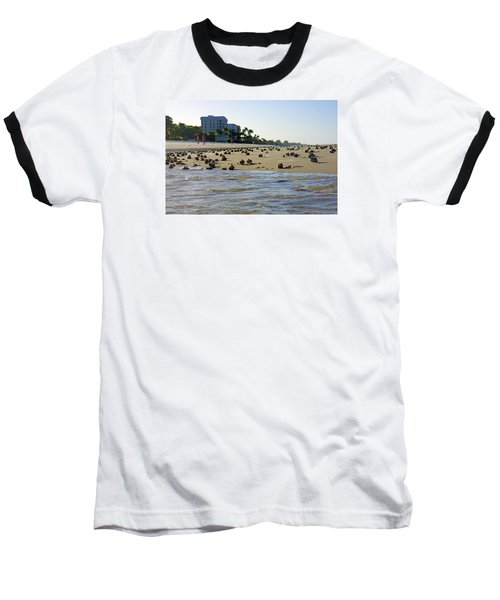 Baseball T-Shirt featuring the photograph Fighting Conchs At Lowdermilk Park Beach In Naples, Fl by Robb Stan
