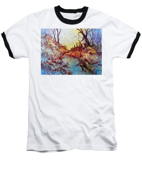 Baseball T-Shirt featuring the painting Forgotten Fence by Carolyn Rosenberger
