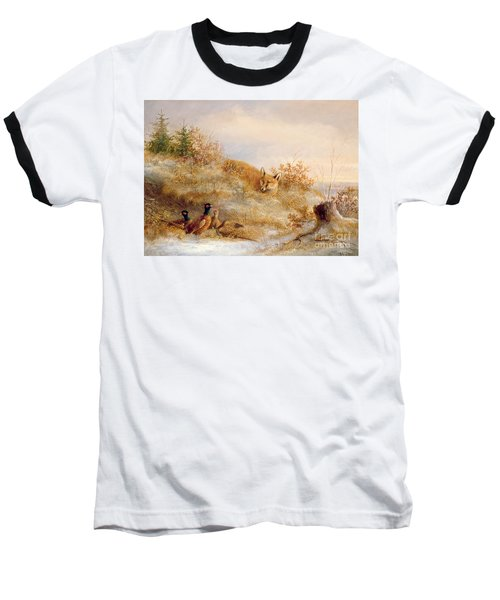 Fox And Pheasants In Winter Baseball T-Shirt by Anonymous