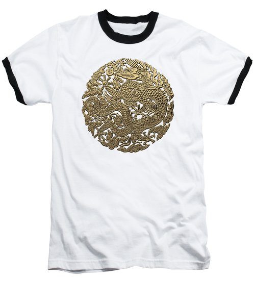 Golden Chinese Dragon White Leather  Baseball T-Shirt by Serge Averbukh