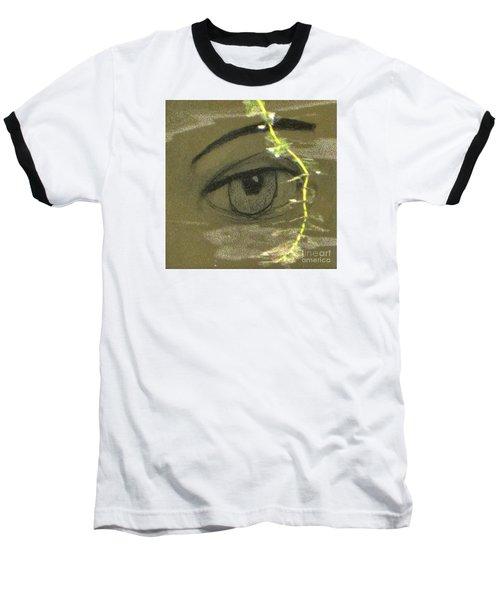 Baseball T-Shirt featuring the mixed media Green Eyes by Yury Bashkin