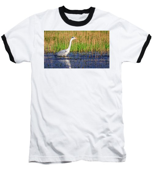 Grey Heron, Ardea Cinerea, In A Pond Baseball T-Shirt by Elenarts - Elena Duvernay photo