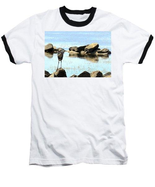 Heron On The Rocks Baseball T-Shirt
