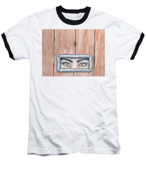 Baseball T-Shirt featuring the painting I See You by Edwin Alverio