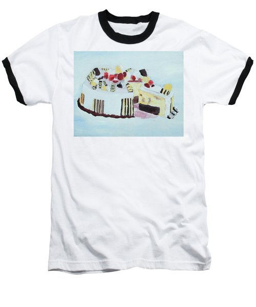 Ice Cream Cake Oil On Canvas Baseball T-Shirt