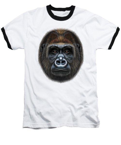 Illustrated Portrait Of Gorilla Male. Baseball T-Shirt