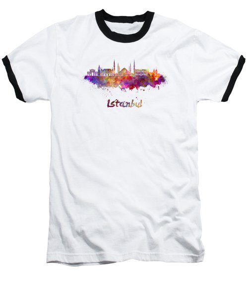 Istanbul Skyline In Watercolor Baseball T-Shirt