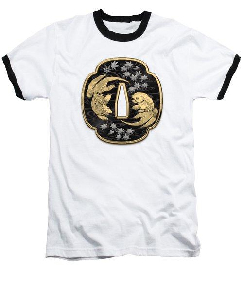 Japanese Katana Tsuba - Twin Gold Fish On Black Steel Over White Leather Baseball T-Shirt