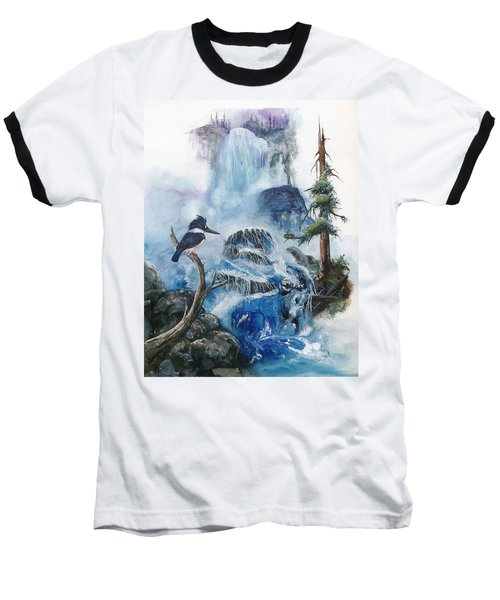 Baseball T-Shirt featuring the painting Kingfisher's Realm by Sherry Shipley