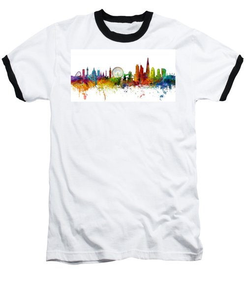 London England Skyline Panoramic Baseball T-Shirt by Michael Tompsett