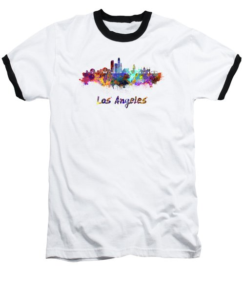 Los Angeles Skyline In Watercolor Baseball T-Shirt