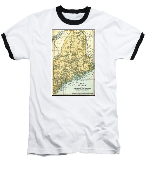Maine Antique Map 1891 Baseball T-Shirt by Phil Cardamone