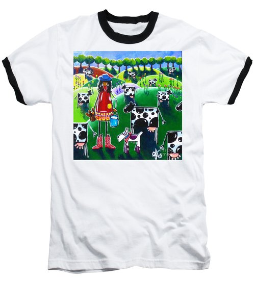 Moo Cow Farm Baseball T-Shirt by Jackie Carpenter