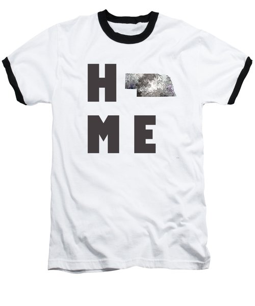 Baseball T-Shirt featuring the digital art Nebraska State Map by Marlene Watson