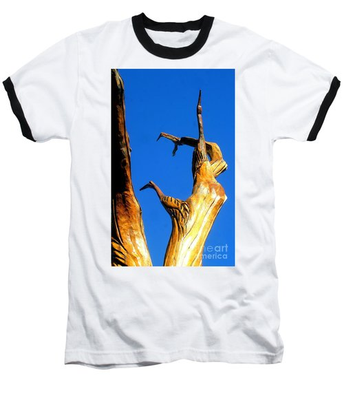New Orleans Bird Tree Sculpture In Louisiana Baseball T-Shirt by Michael Hoard