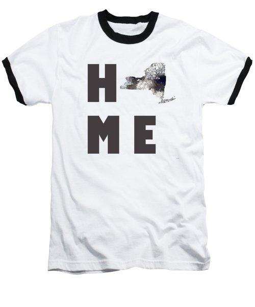 Baseball T-Shirt featuring the digital art New York State Map by Marlene Watson