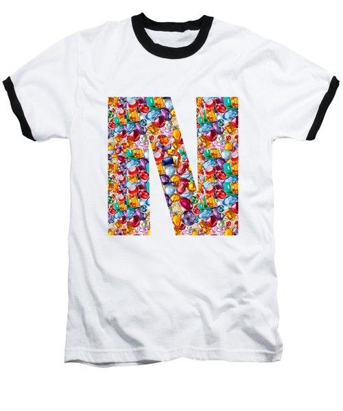Nnn Nn N  Alpha Art On Shirts Alphabets Initials   Shirts Jersey T-shirts V-neck By Navinjoshi Baseball T-Shirt by Navin Joshi