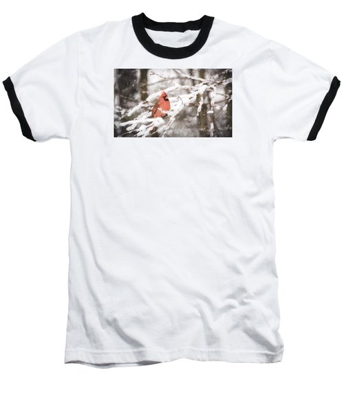 Northern Cardinal In Snow Baseball T-Shirt