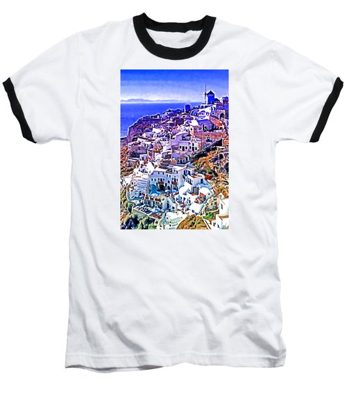 Baseball T-Shirt featuring the photograph Oia Town On Santorini by Dennis Cox WorldViews