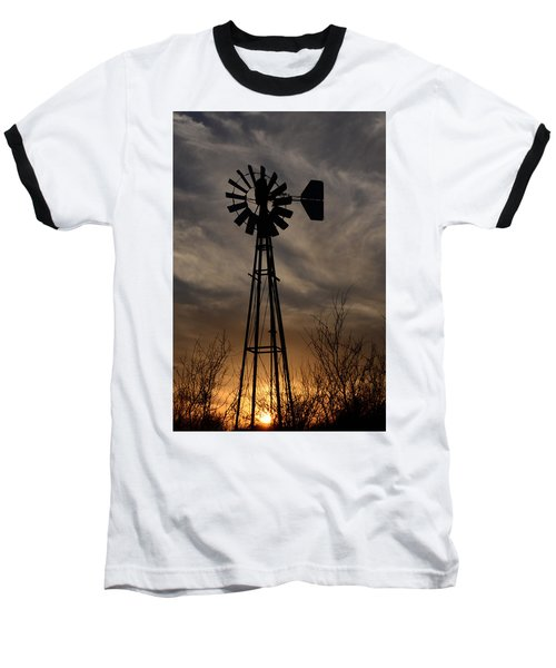 Oklahoma Windmill And Sunset Baseball T-Shirt