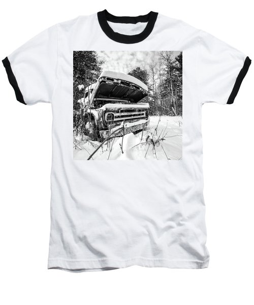 Old Abandoned Pickup Truck In The Snow Baseball T-Shirt