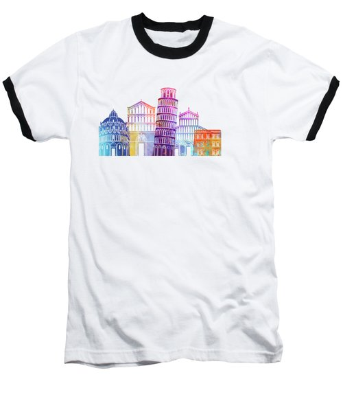 Barcelona Landmarks Watercolor Poster Baseball T-Shirt