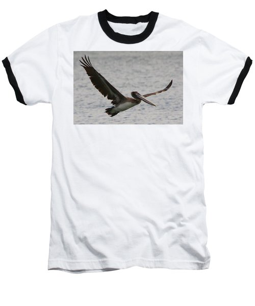 Baseball T-Shirt featuring the photograph Pelican In Flight by Laurel Talabere