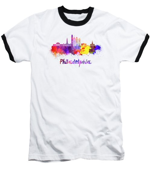 Philadelphia Skyline In Watercolor Baseball T-Shirt by Pablo Romero
