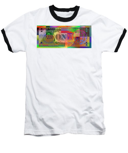 Pop-art Colorized One U. S. Dollar Bill Reverse Baseball T-Shirt